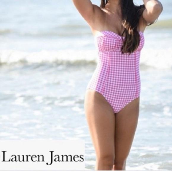 2bad521d79a8f3 Lauren James Swim | Nwt Gingham Bandeau Suit | Poshmark